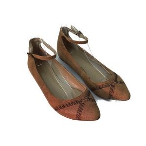 Sole Society Keelie Brown Flats w Ankle Strap 8.5